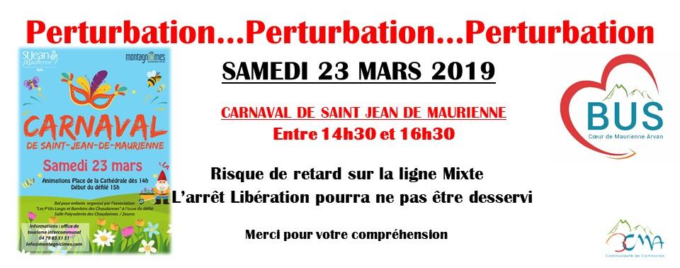 Perturbation Carnaval Samedi 23 Mars 2019